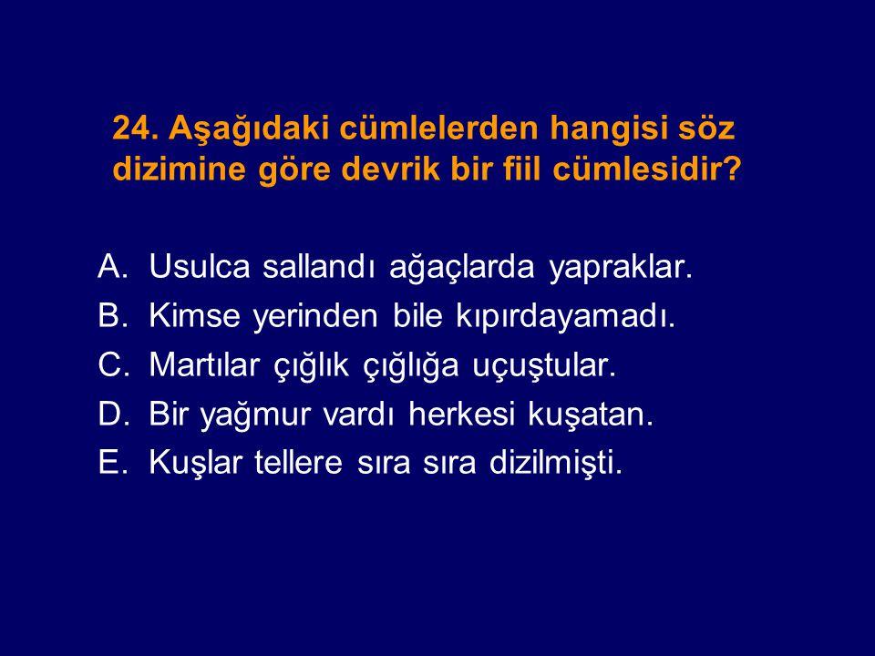 24. Aşağıdaki cümlelerden hangisi söz dizimine göre devrik bir fiil cümlesidir