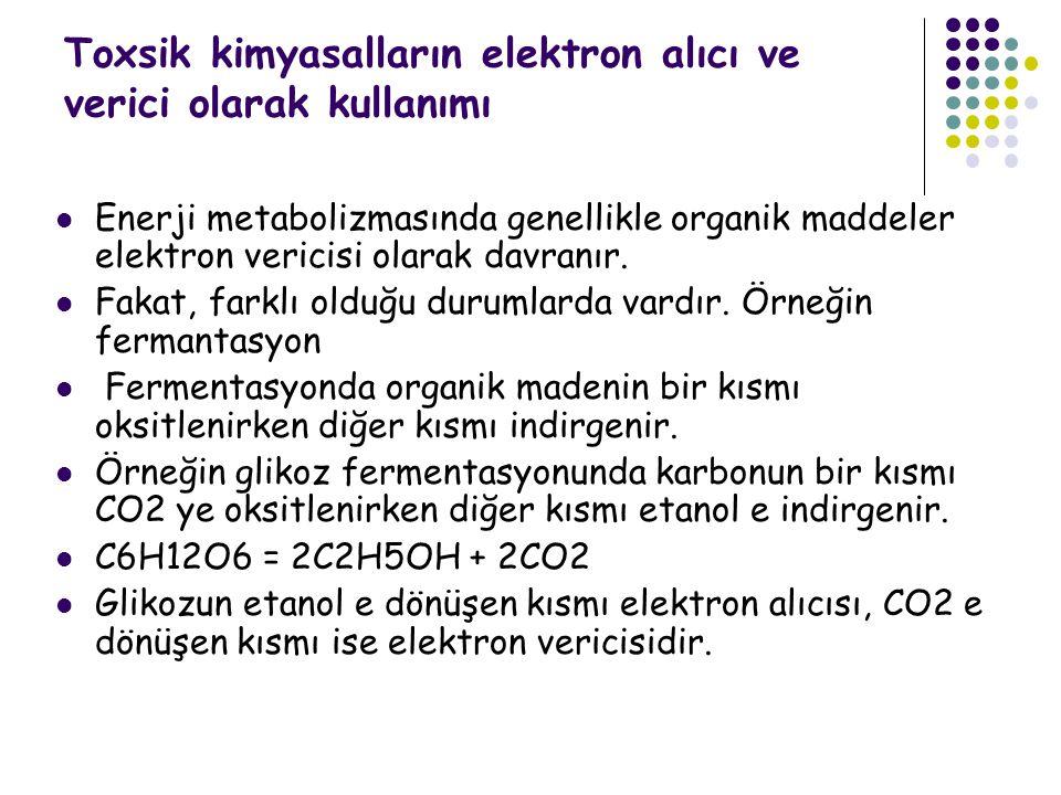 Toxsik kimyasalların elektron alıcı ve verici olarak kullanımı
