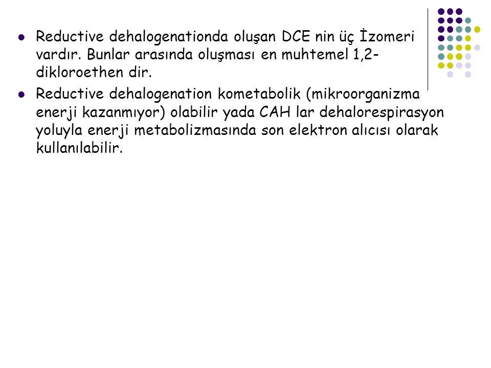 Reductive dehalogenationda oluşan DCE nin üç İzomeri vardır
