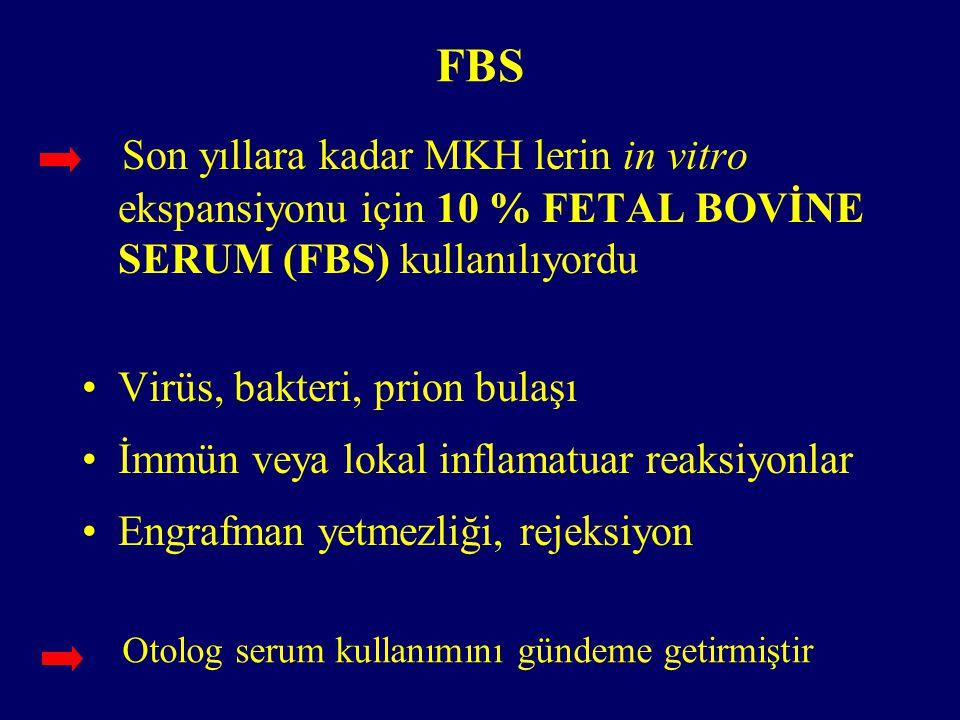 FBS Son yıllara kadar MKH lerin in vitro ekspansiyonu için 10 % FETAL BOVİNE SERUM (FBS) kullanılıyordu.