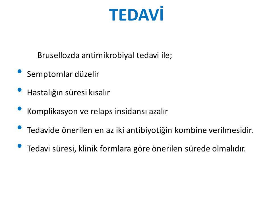 TEDAVİ Brusellozda antimikrobiyal tedavi ile; Semptomlar düzelir