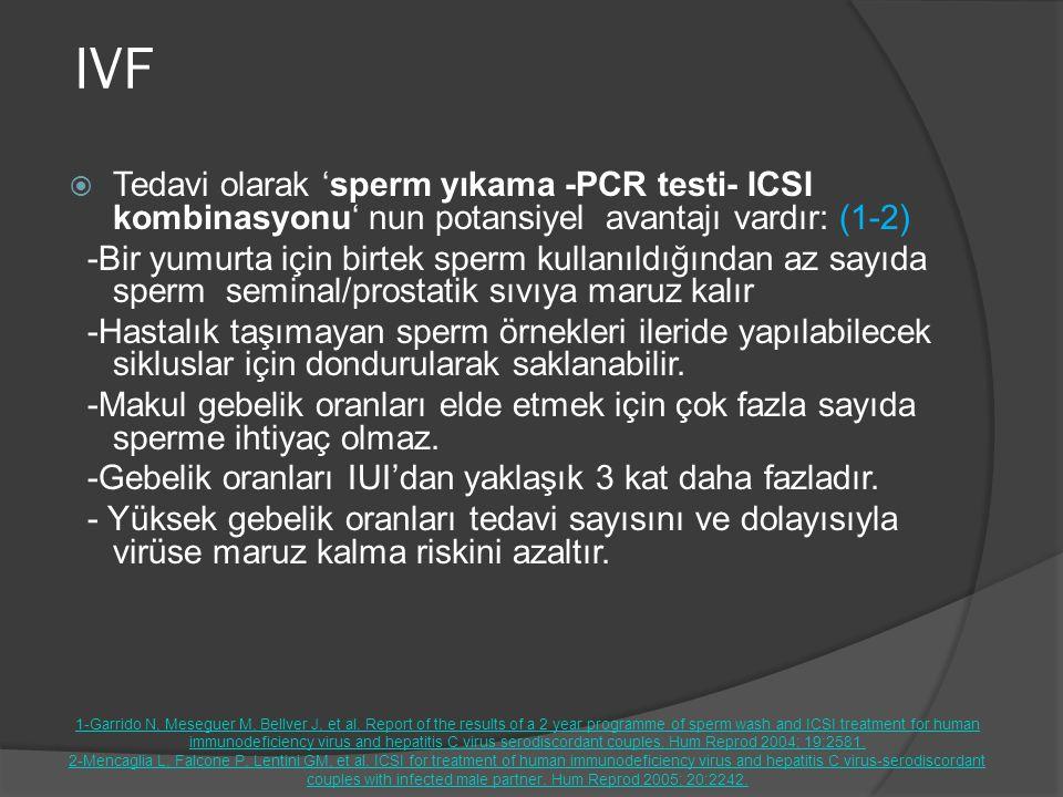 IVF Tedavi olarak 'sperm yıkama -PCR testi- ICSI kombinasyonu' nun potansiyel avantajı vardır: (1-2)
