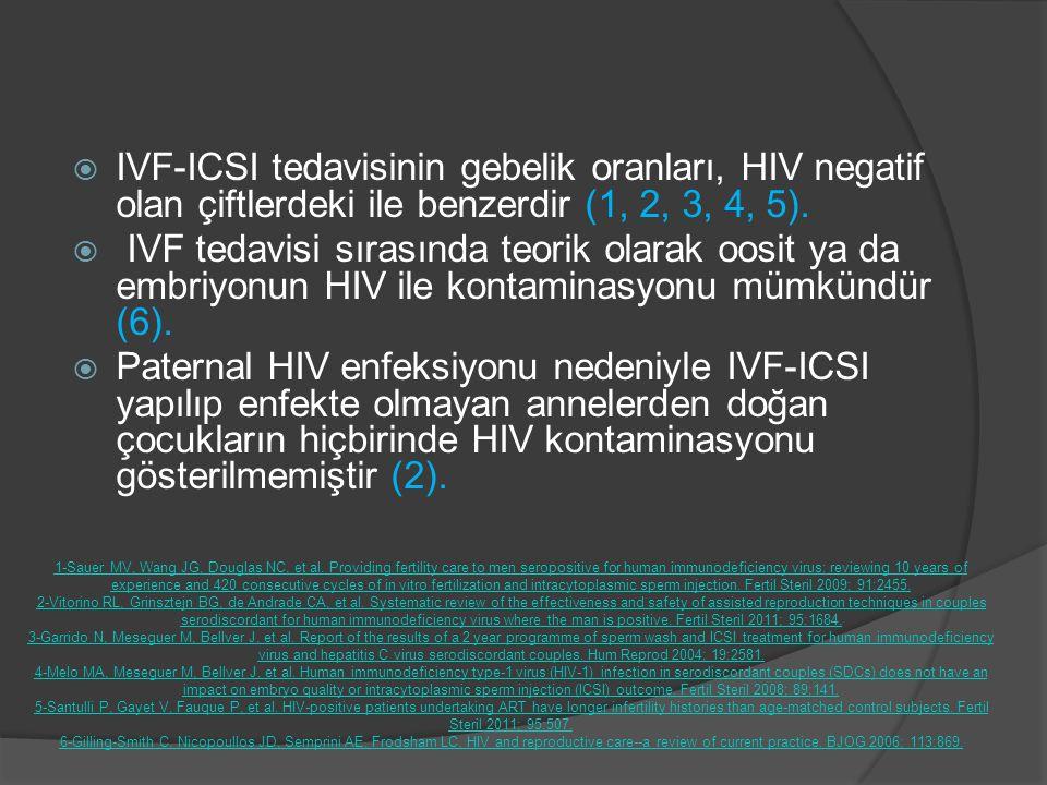 IVF-ICSI tedavisinin gebelik oranları, HIV negatif olan çiftlerdeki ile benzerdir (1, 2, 3, 4, 5).