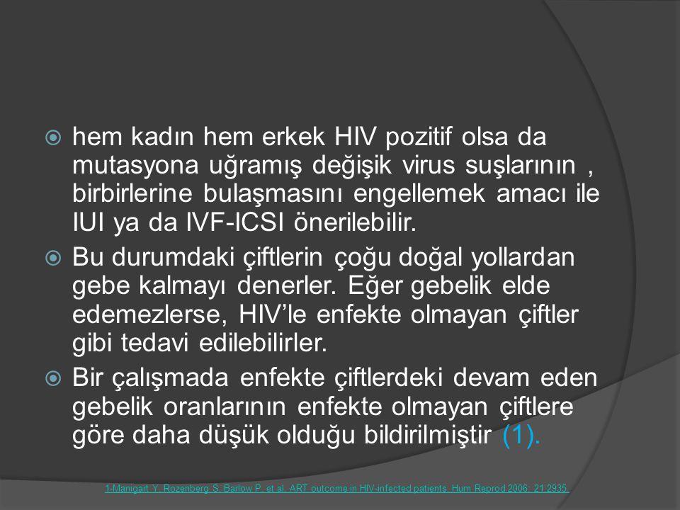 hem kadın hem erkek HIV pozitif olsa da mutasyona uğramış değişik virus suşlarının , birbirlerine bulaşmasını engellemek amacı ile IUI ya da IVF-ICSI önerilebilir.