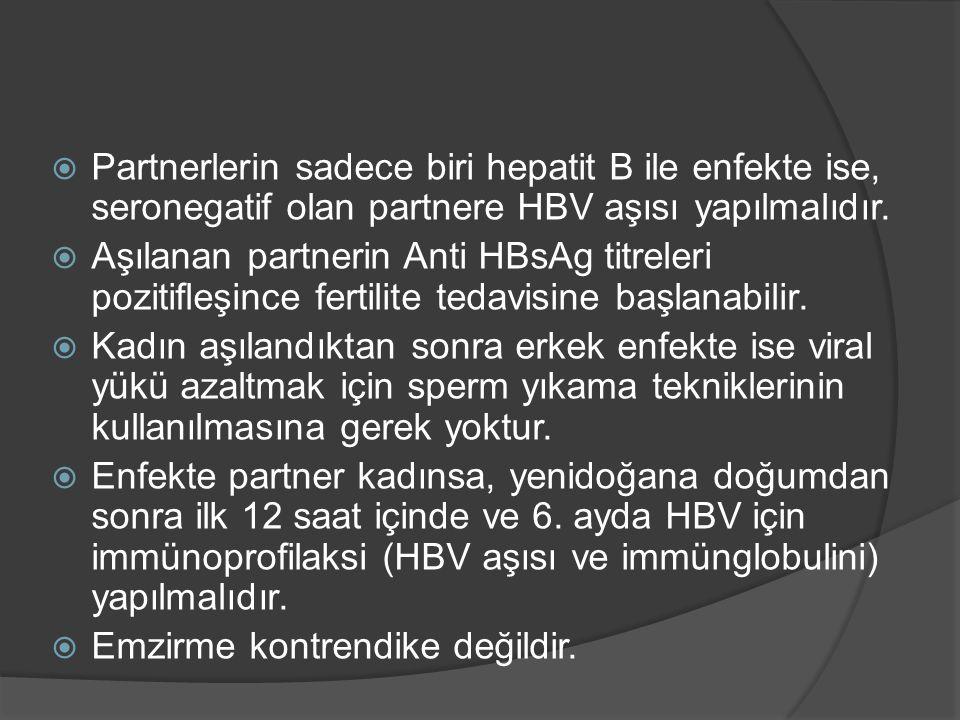 Partnerlerin sadece biri hepatit B ile enfekte ise, seronegatif olan partnere HBV aşısı yapılmalıdır.