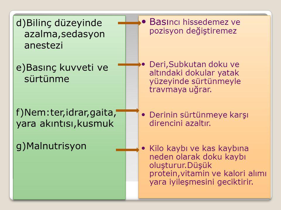 d)Bilinç düzeyinde azalma,sedasyon anestezi