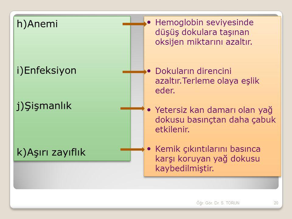 h)Anemi i)Enfeksiyon j)Şişmanlık k)Aşırı zayıflık