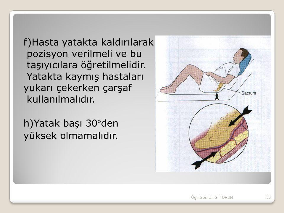 f)Hasta yatakta kaldırılarak pozisyon verilmeli ve bu taşıyıcılara öğretilmelidir. Yatakta kaymış hastaları yukarı çekerken çarşaf kullanılmalıdır. h)Yatak başı 30den yüksek olmamalıdır.