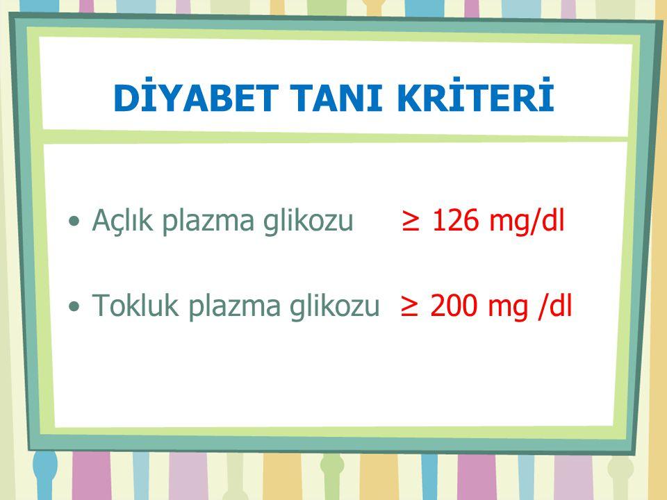 DİYABET TANI KRİTERİ Açlık plazma glikozu ≥ 126 mg/dl