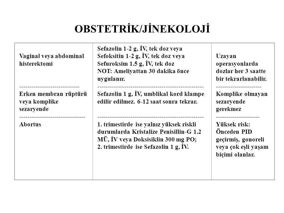 OBSTETRİK/JİNEKOLOJİ