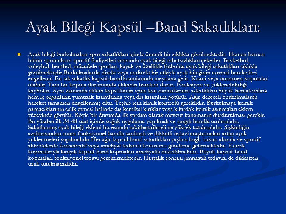Ayak Bileği Kapsül –Band Sakatlıkları: