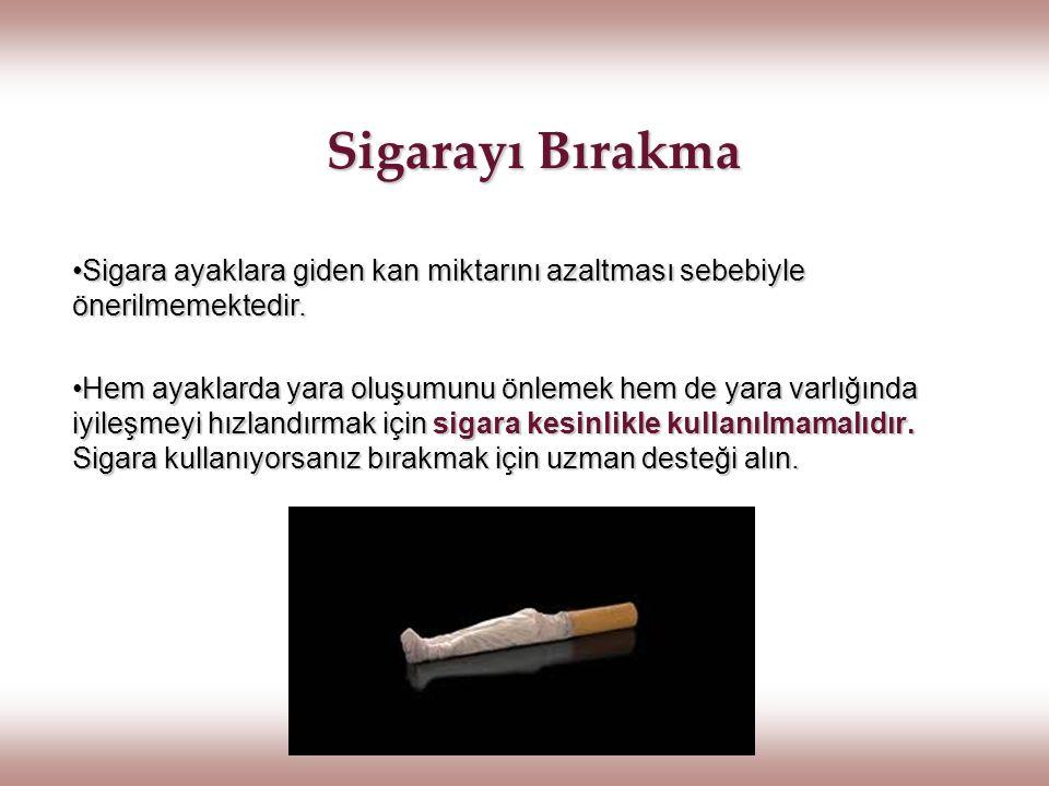 Sigarayı Bırakma Sigara ayaklara giden kan miktarını azaltması sebebiyle önerilmemektedir.