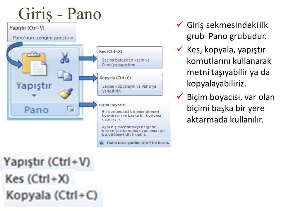 Giriş - Pano Giriş sekmesindeki ilk grub Pano grubudur.