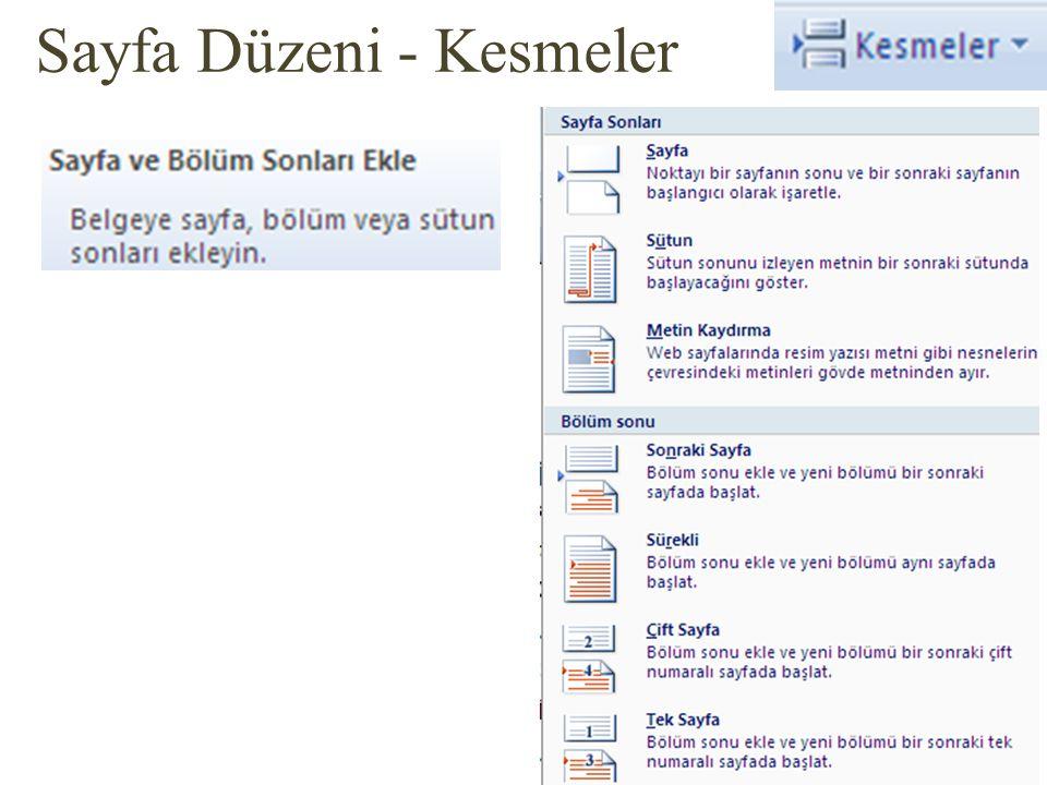 Sayfa Düzeni - Kesmeler