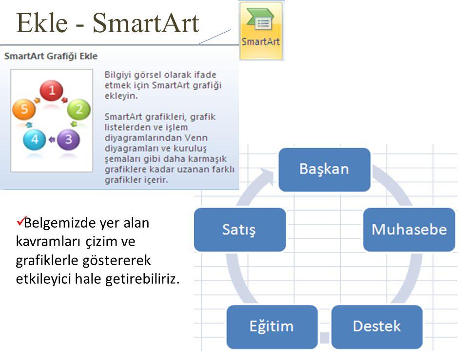 Ekle - SmartArt Belgemizde yer alan kavramları çizim ve grafiklerle göstererek etkileyici hale getirebiliriz.