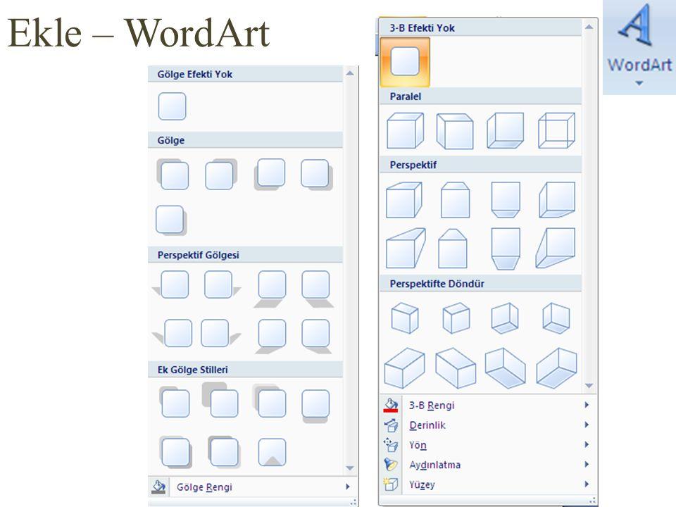 Ekle – WordArt