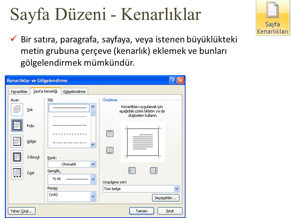 Sayfa Düzeni - Kenarlıklar
