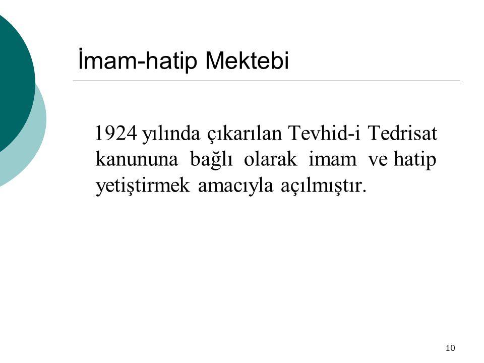 İmam-hatip Mektebi 1924 yılında çıkarılan Tevhid-i Tedrisat kanununa bağlı olarak imam ve hatip yetiştirmek amacıyla açılmıştır.