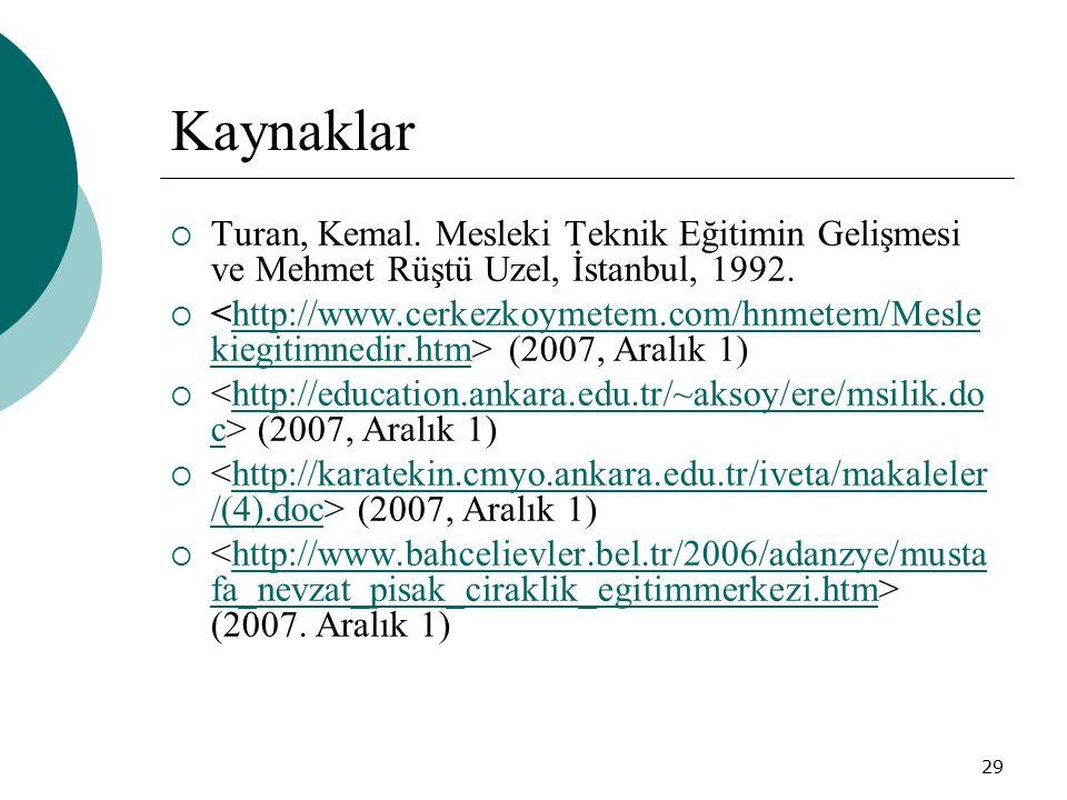 Kaynaklar Turan, Kemal. Mesleki Teknik Eğitimin Gelişmesi ve Mehmet Rüştü Uzel, İstanbul, 1992.