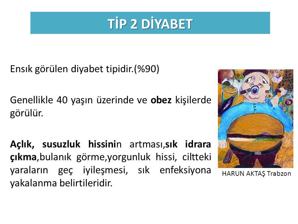 TİP 2 DİYABET Ensık görülen diyabet tipidir.(%90)