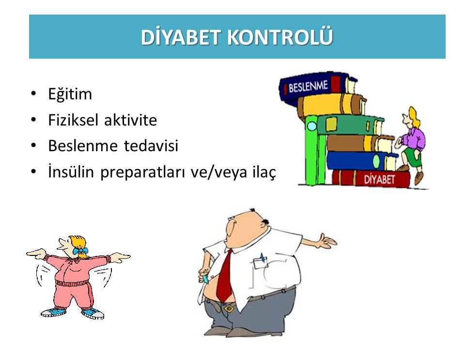 DİYABET KONTROLÜ Eğitim Fiziksel aktivite Beslenme tedavisi