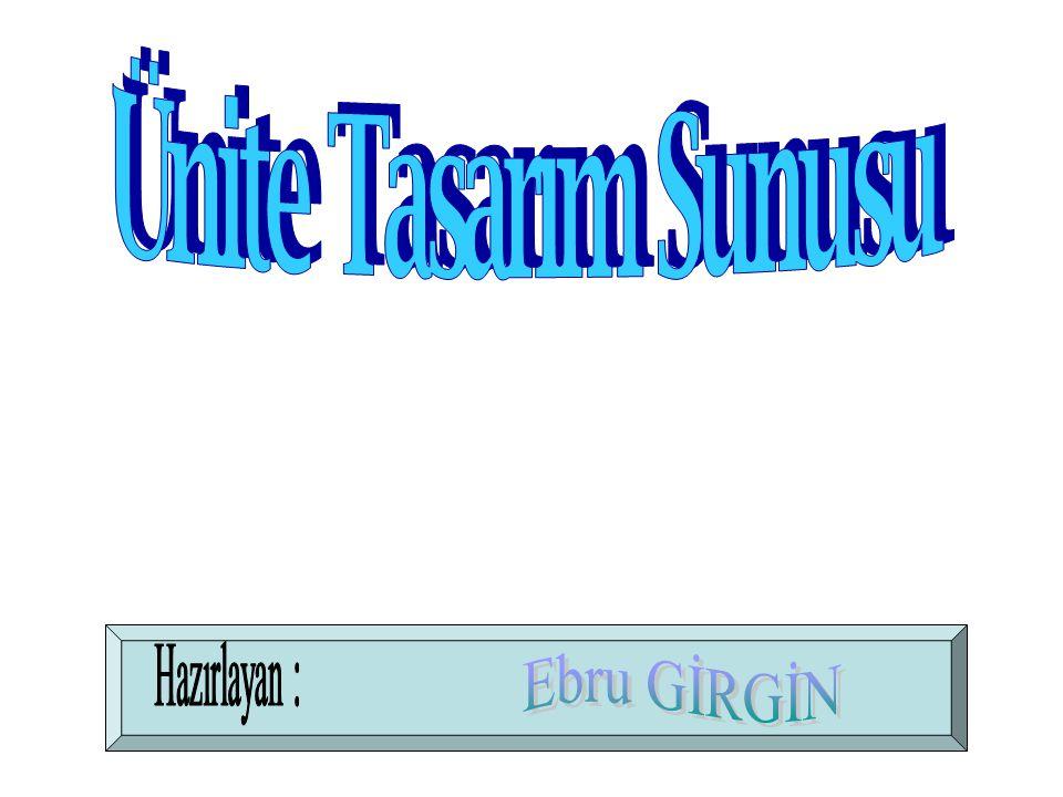 Ünite Tasarım Sunusu Hazırlayan : Ebru GİRGİN