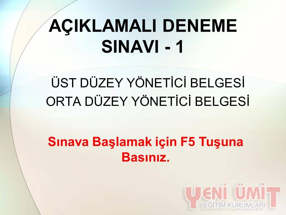 AÇIKLAMALI DENEME SINAVI - 1