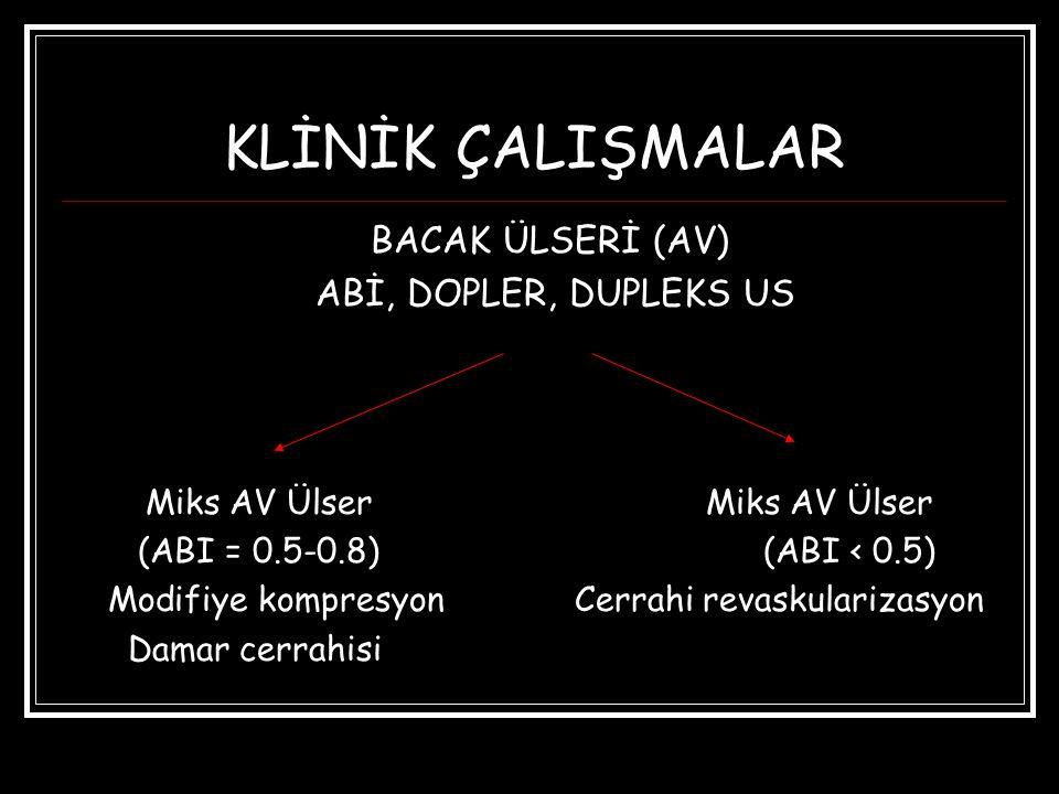 KLİNİK ÇALIŞMALAR BACAK ÜLSERİ (AV) ABİ, DOPLER, DUPLEKS US
