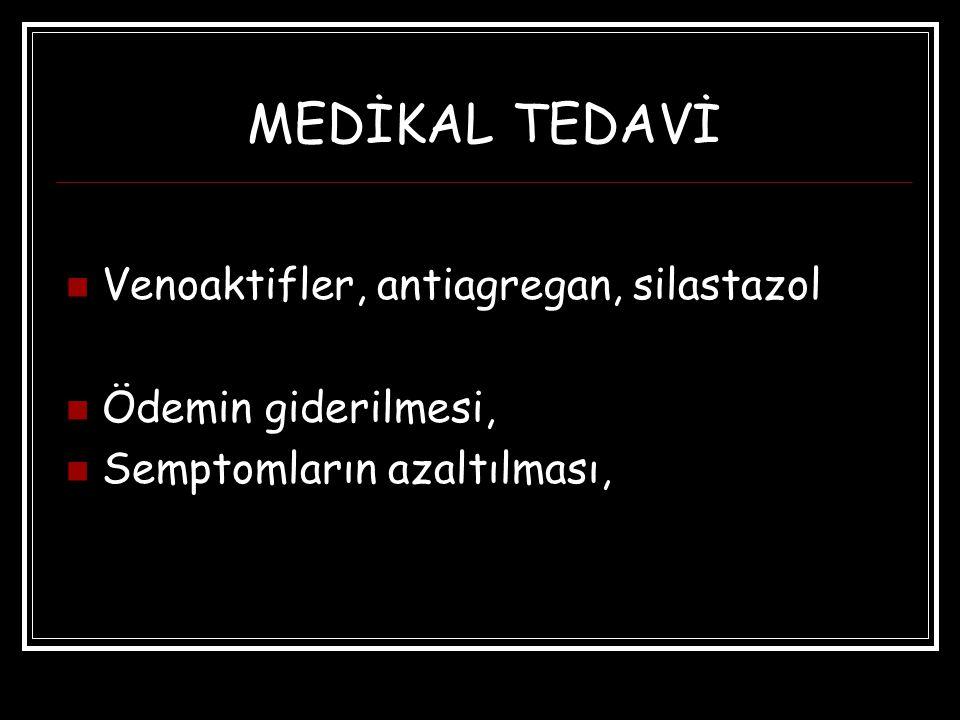 MEDİKAL TEDAVİ Venoaktifler, antiagregan, silastazol