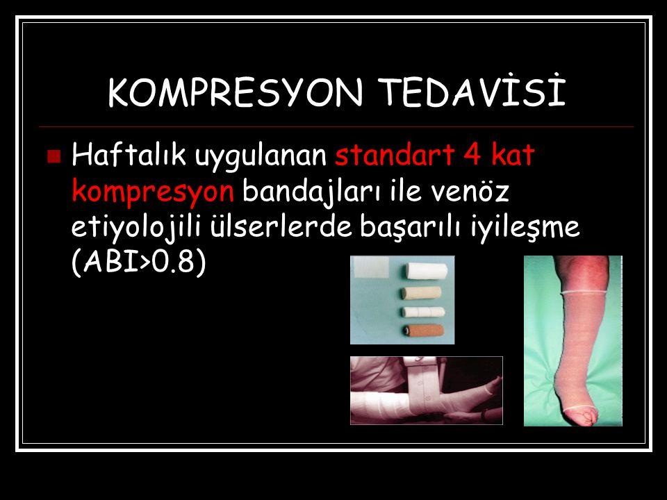 KOMPRESYON TEDAVİSİ Haftalık uygulanan standart 4 kat kompresyon bandajları ile venöz etiyolojili ülserlerde başarılı iyileşme (ABI>0.8)