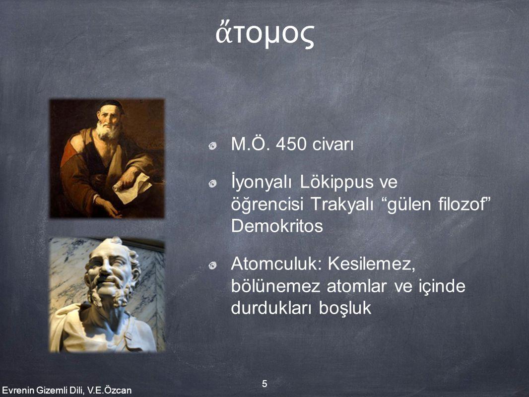 ἄτομος M.Ö. 450 civarı. İyonyalı Lökippus ve öğrencisi Trakyalı gülen filozof Demokritos.