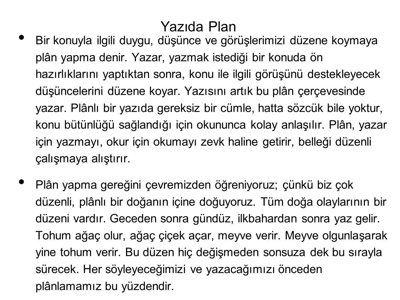 Yazıda Plan
