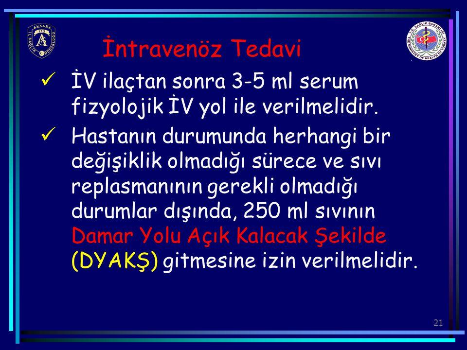 İntravenöz Tedavi İV ilaçtan sonra 3-5 ml serum fizyolojik İV yol ile verilmelidir.