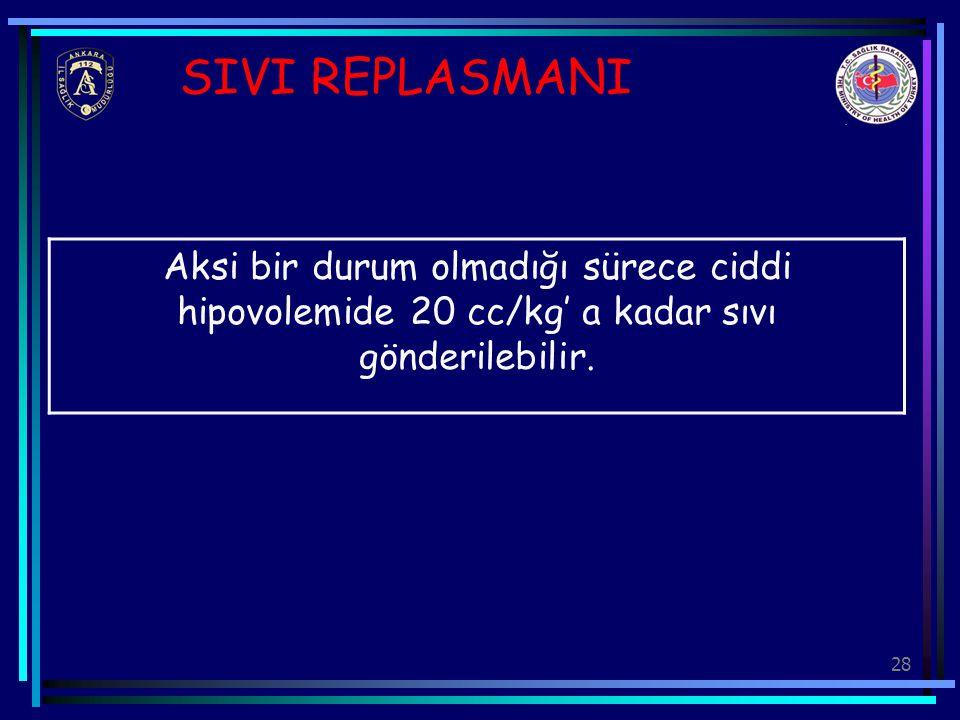SIVI REPLASMANI Aksi bir durum olmadığı sürece ciddi hipovolemide 20 cc/kg' a kadar sıvı gönderilebilir.