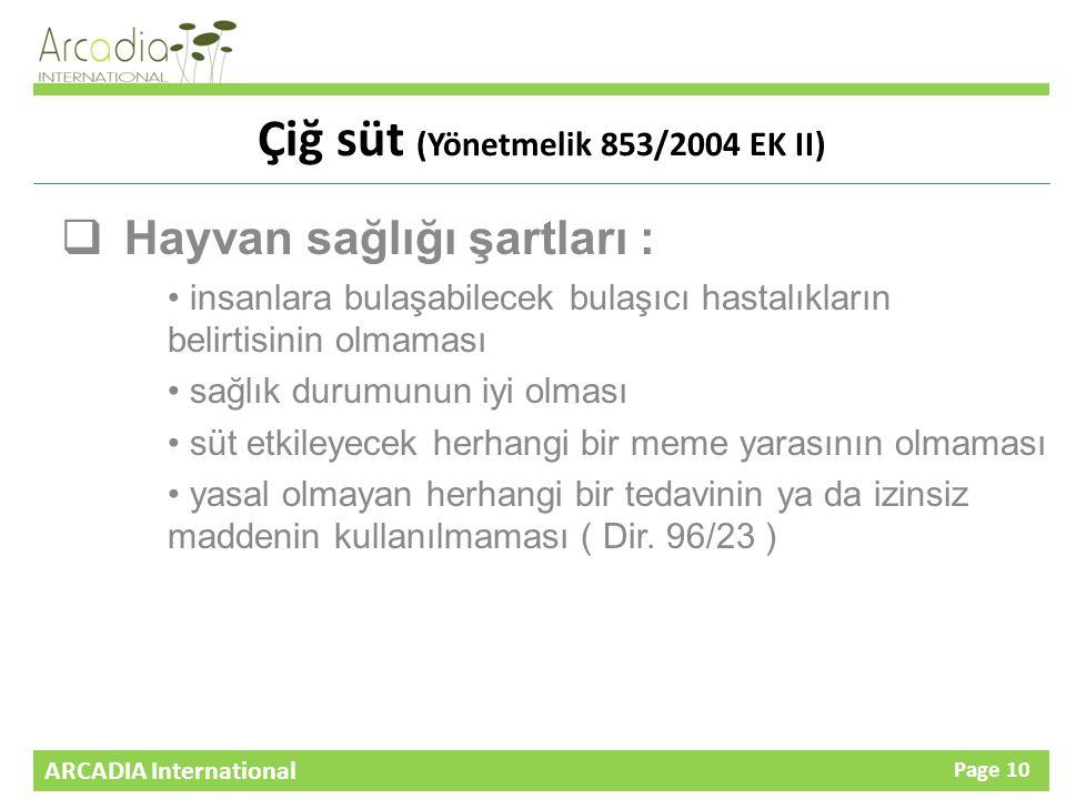 Çiğ süt (Yönetmelik 853/2004 EK II)