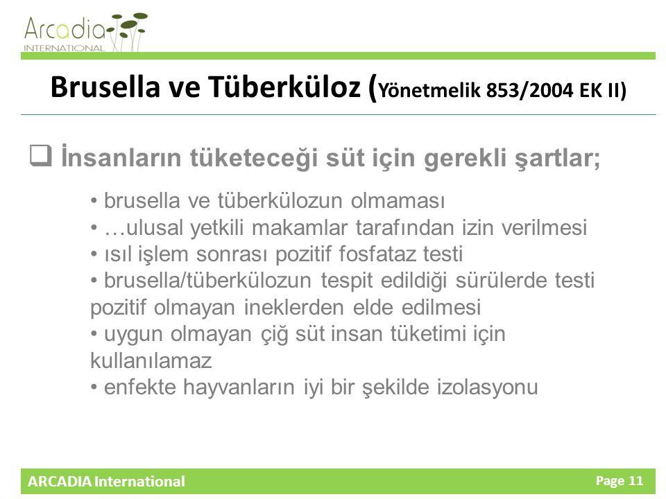 Brusella ve Tüberküloz (Yönetmelik 853/2004 EK II)
