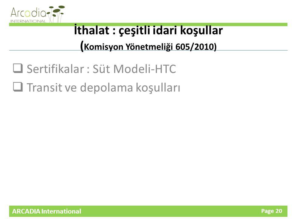 İthalat : çeşitli idari koşullar (Komisyon Yönetmeliği 605/2010)