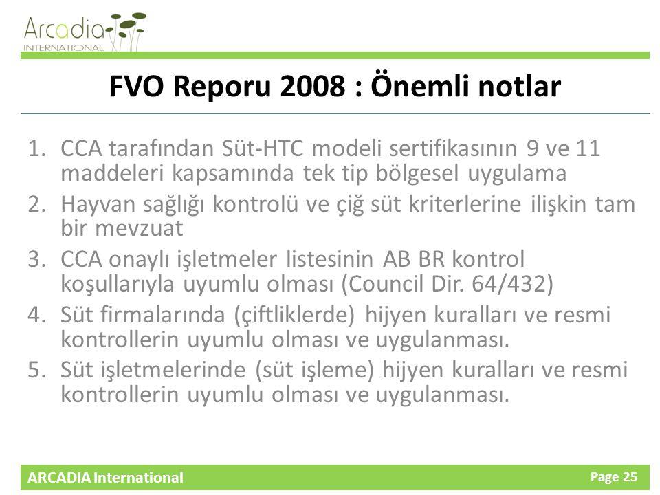 FVO Reporu 2008 : Önemli notlar