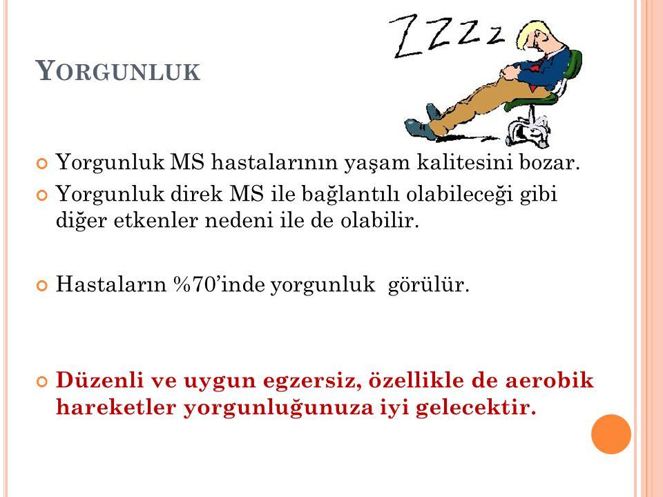 Yorgunluk Yorgunluk MS hastalarının yaşam kalitesini bozar.