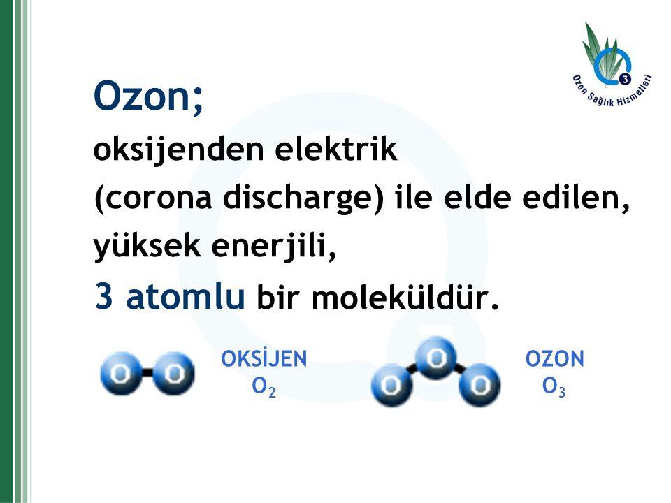 Ozon; 3 atomlu bir moleküldür. oksijenden elektrik