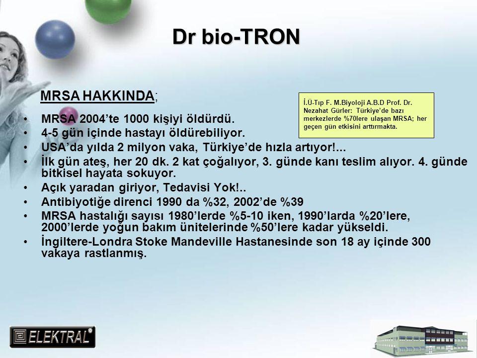 Dr bio-TRON MRSA HAKKINDA; MRSA 2004'te 1000 kişiyi öldürdü.
