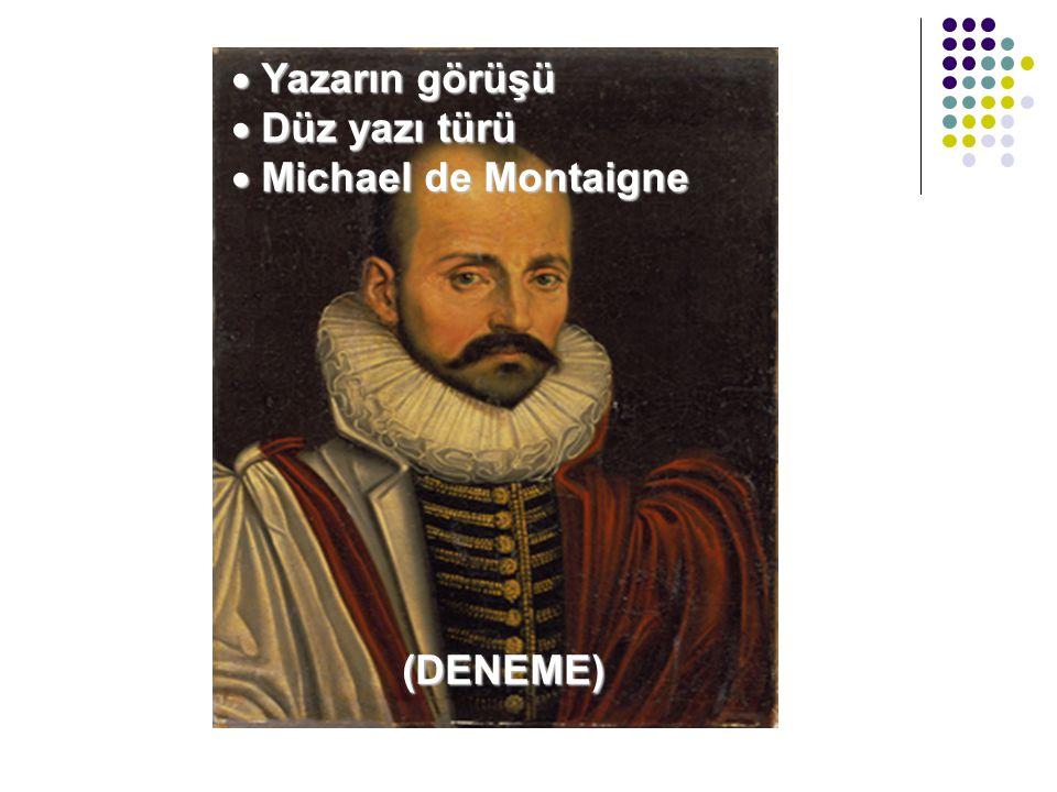 Yazarın görüşü Düz yazı türü Michael de Montaigne (DENEME)