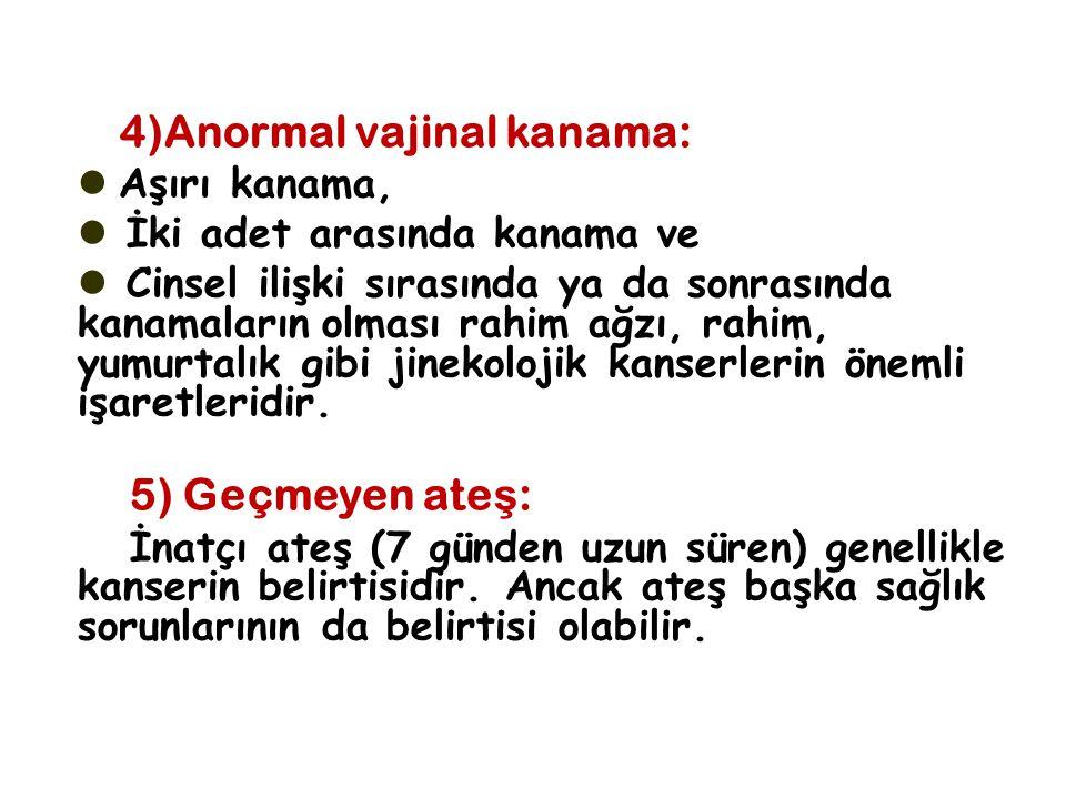 4)Anormal vajinal kanama: Aşırı kanama, İki adet arasında kanama ve