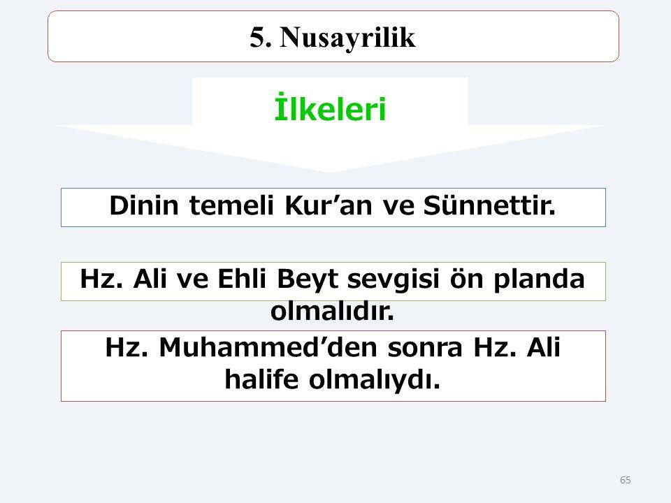 5. Nusayrilik İlkeleri Dinin temeli Kur'an ve Sünnettir.
