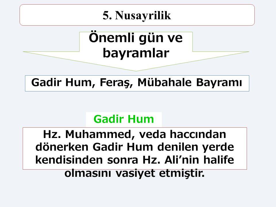 Önemli gün ve bayramlar Gadir Hum, Feraş, Mübahale Bayramı