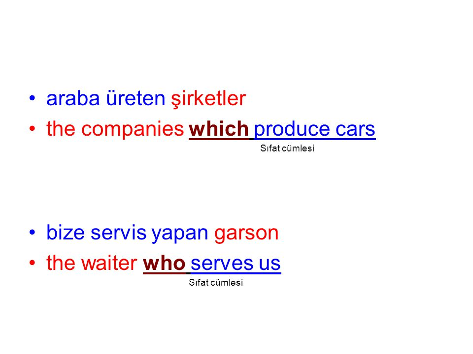 araba üreten şirketler the companies which produce cars