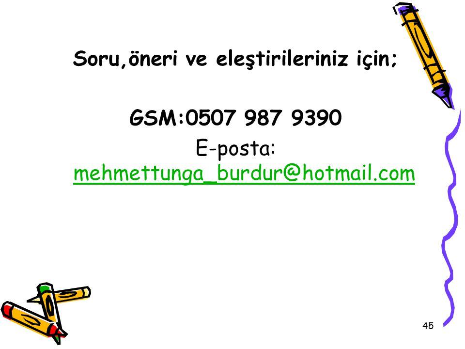 Soru,öneri ve eleştirileriniz için; GSM:0507 987 9390 E-posta: mehmettunga_burdur@hotmail.com