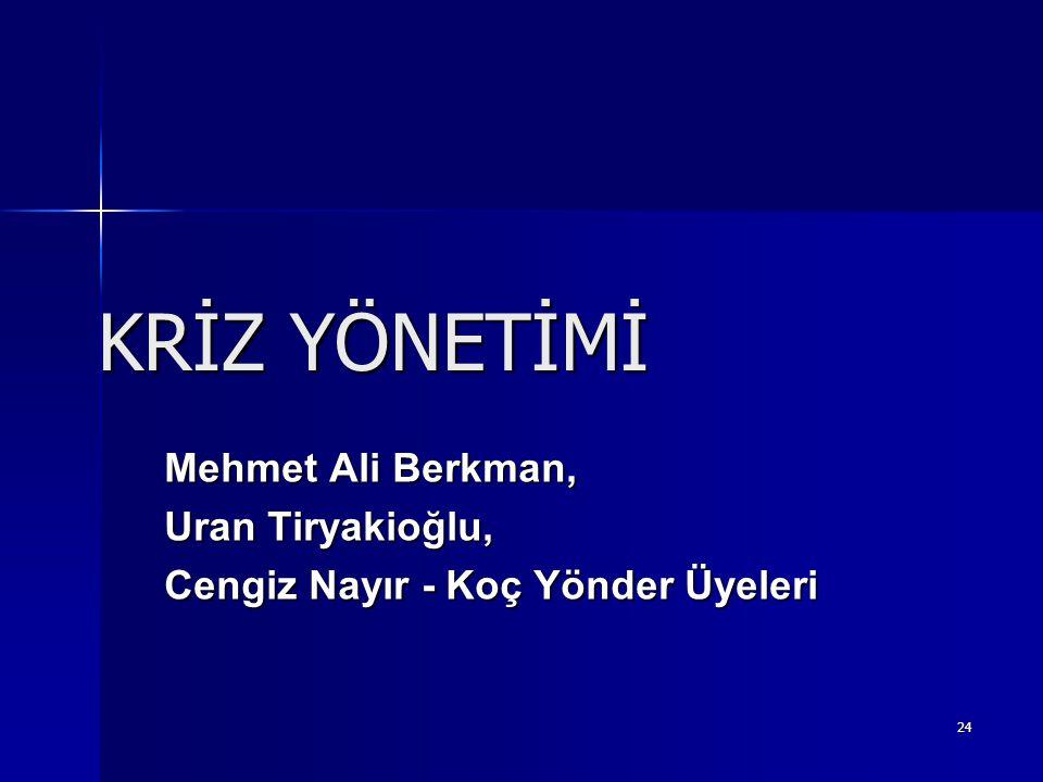 KRİZ YÖNETİMİ Mehmet Ali Berkman, Uran Tiryakioğlu,