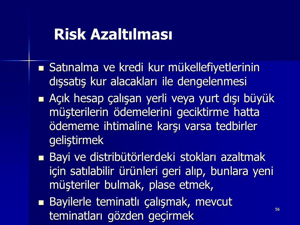 Risk Azaltılması Satınalma ve kredi kur mükellefiyetlerinin dışsatış kur alacakları ile dengelenmesi.