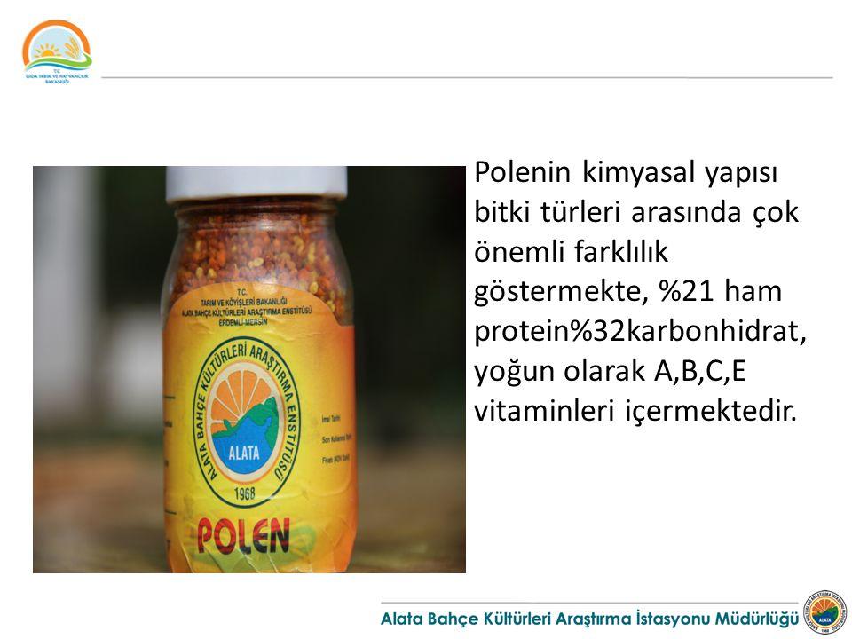 Polenin kimyasal yapısı bitki türleri arasında çok önemli farklılık göstermekte, %21 ham protein%32karbonhidrat, yoğun olarak A,B,C,E vitaminleri içermektedir.